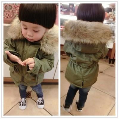ベビー キッズ  中綿入りコート モッズコート 子供服 男の子 女の子  コート ファーフード付き 暖かい 防風防寒 シンプル ゆったり