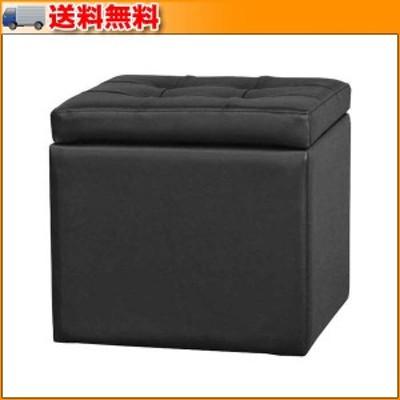 レザースツール ブラック SL-3591BK ▼座ることはもちろん収納もできるキューブ型スツール