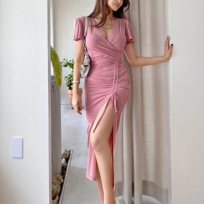 パーティドレス ワンピース きれいめ レディース40代 結婚式 韓国 30代 ロング丈 半袖 無地 Vネック ウエストマーク リボン 大きいサイズ フェミニン