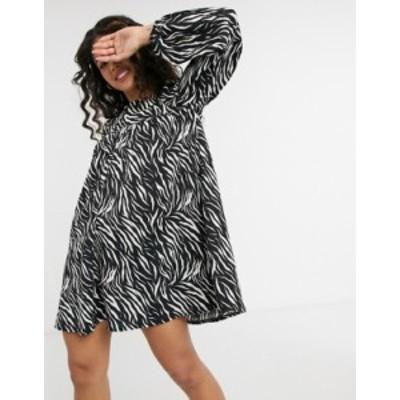 エイソス レディース ワンピース トップス ASOS DESIGN mini textured smock dress with long sleeves in zebra print Zebra print
