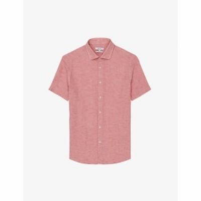 リース REISS メンズ 半袖シャツ トップス Holiday short-sleeved collared linen shirt PINK