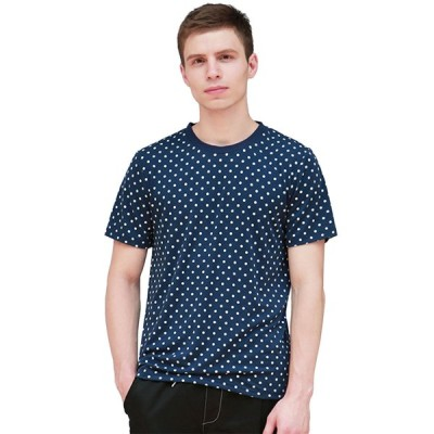 uxcell Allegra K メンズ Tシャツ ティーシャツ 半袖 クルーネック 水玉 夏 カジュアル ファッション ブルー 36