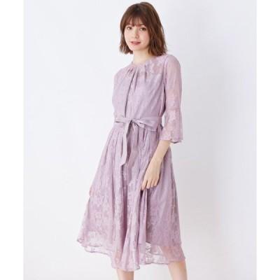ドレス 【WEB限定サイズあり】チュールレースロングドレス