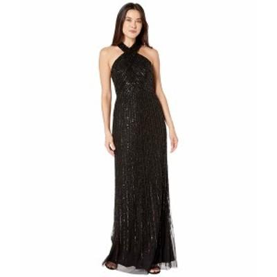 アドリアナ パペル レディース ワンピース トップス Beaded Halter Mermaid Gown Black