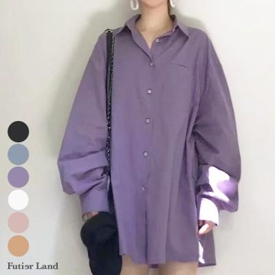 Futier Land [おしゃれに体系カバー]ワイドBIGシャツ ホワイト フリー レディース