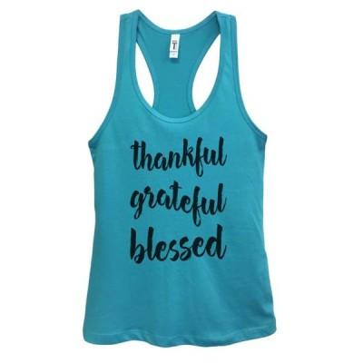 レディース 衣類 トップス Womens Basic Christian Gym Running Tank Top Thankful Grateful Blessed Funny Threadz Medium Sky Blue
