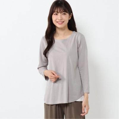 裾フェイクレイヤード8分袖Tシャツ ライトグレー M L LL