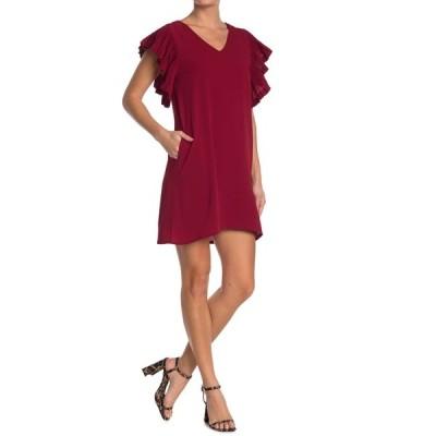 シーユースーン レディース ワンピース トップス Flutter Sleeve Dress RED