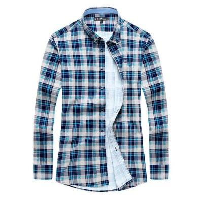 ボタンダウンシャツ メンズ チェック柄 長袖 アメカジ オシャレ カラー配色 綿100% 柔らかい 新作