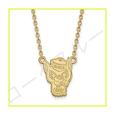 """Solid 10k Yellow Gold Official North Carolina State University Large Pendant Necklace Charm Chain - with Secure Lobster Lock Clasp 18"""" (Widt"""