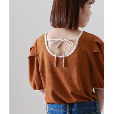 archives / 配色パイピングジャガード半袖カットソー WOMEN トップス > Tシャツ/カットソー