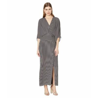 ホルストンヘリテイジ ワンピース トップス レディース Kimono Stripe Dress Black/Linen White Tera Stripe