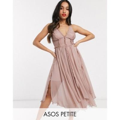 エイソス ASOS Petite レディース ワンピース キャミワンピ ASOS DESIGN Petite ruched bodice soft cami midi dress with raw edge detail ソフトピンク