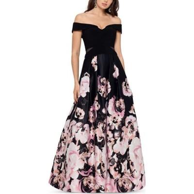 エックススケープ XSCAPE レディース パーティードレス ワンピース・ドレス Petite Off-The-Shoulder Floral-Print Ball Gown Black/Blush Floral