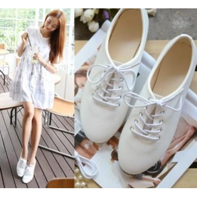 フラットシューズ 靴紐 ローヒール ホワイト ライトグリーン イエロー ピンク 大人可愛い カジュアル 大きいサイズ