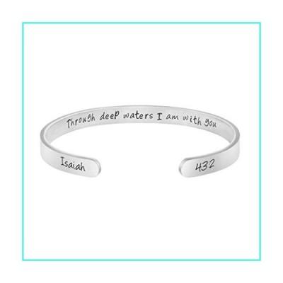 【新品】Joycuff Christian Gift for Women Inspirational Jewelry Through Deep Water I am with You Bracelet Isaiah 43:2 Bible Verse(並行輸入品