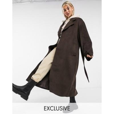 コルージョン レディース コート アウター COLLUSION longline brushed faux wool coat in brown