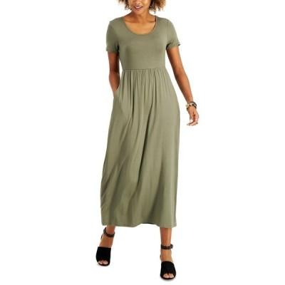スタイルアンドコー ワンピース トップス レディース Petite Seamed-Waist Maxi Dress,  Olive Drab