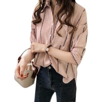 REHOODNレディース シャツ ブラウス 夏 シャツ アロハシャツ 半袖 トップス 体型カバー 7分袖 快適 上品 スキッパー ストライプ シャツピ