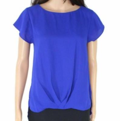 ファッション トップス INC Womens Blue Size Small S Flutter Sleeve Twist Front Blouse