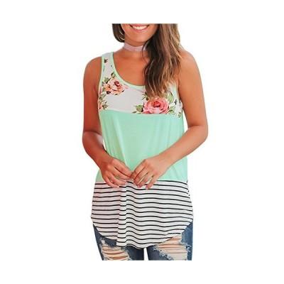 Womens Tops Sleeveless Round Neck Stripe T-Shirts Tank Tops Green M