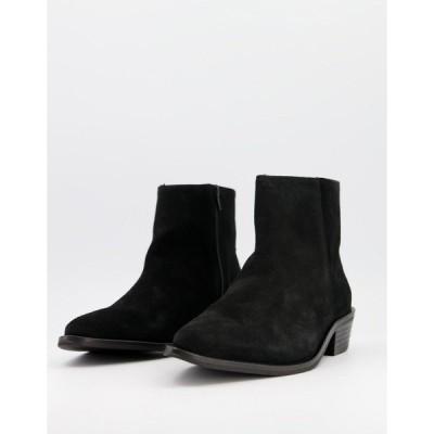 セレクテッドオム メンズ ブーツ&レインブーツ シューズ Selected Homme suede chelsea boot with cuban heel in black Black