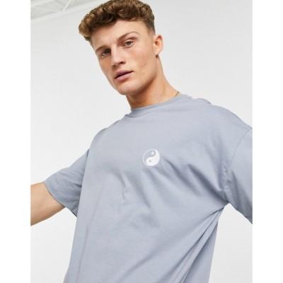 ニュールック New Look メンズ Tシャツ トップス Oversized T-Shirt With Yinyang Embroidery In Blue ブルー