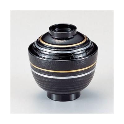 (業務用・小吸椀)3寸荒筋木目椀 黒に金銀ライン 210cc(入数:5)