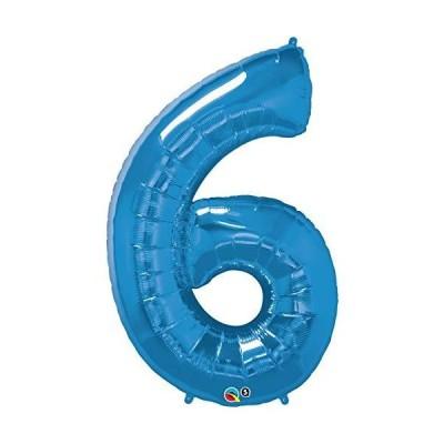 クォラテックス社バルーン数字 (6)大きさ約90センチ ブルー Qualatex number big baloon お誕生日 飾り 数字