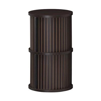 白井産業 円柱 ラック 約 幅38 奥行38 高さ63 cm 収納 棚 蛇腹扉 2段 ダーク ブラウン (CMO-6035JDK チャモス)