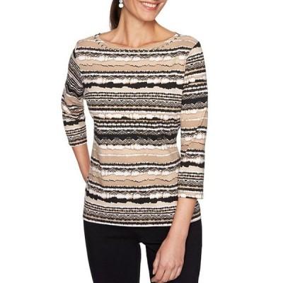 ルビーアールディー レディース Tシャツ トップス Petite Size Striped Embellished Boat Neck 3/4 Sleeve Knit Top