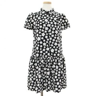 To b. by agnes b. トゥービー バイ アニエスベー ワンピース ドレス キャップスリーブ 2分袖 襟 フロントボタン ミニ フレア フラワープ