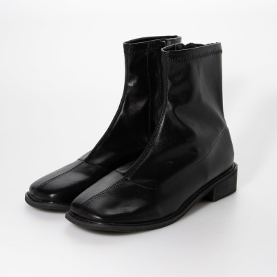 スタイルブロック STYLEBLOCK サイドファスナーローヒールスクエアトゥブーツ (ブラック)