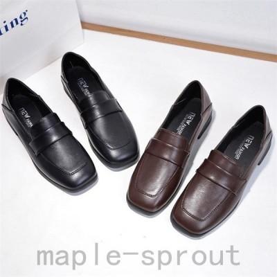 レディース革靴ローファーモカシンローヒールスクエアートゥパンプス可愛い女子靴