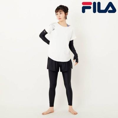 セット水着  フィラ FILA レディース Tシャツ 半袖 タンクトップ レギンス 水着 短パン カップ付 幾何学模様 アウトレット