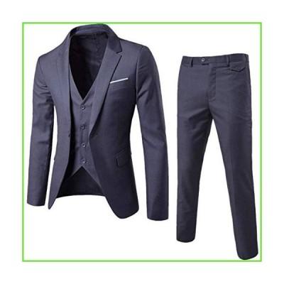 Cloudstyle Mens 3-Piece Suit Notched Lapel One Button Slim Fit Formal Jacket Vest Pants Set,Dark Grey,XX-Large【並行輸入】【新品】