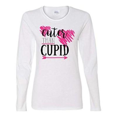 レディース 衣類 トップス Cuter Than Cupid Valentine's Day Women's Long Sleeve Shirt-White-Small グラフィックティー