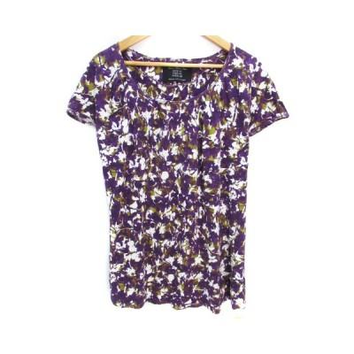 【中古】ザラ ベーシック ZARA BASIC カットソー Tシャツ 半袖 ラウンドネック 総柄 M 紫 白 パープル ホワイト /FF22 レディース 【ベクトル 古着】