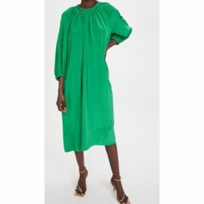ティビ Tibi レディース ワンピース ワンピース・ドレス Eco Silk Shirred Neck Pitched Dress Green