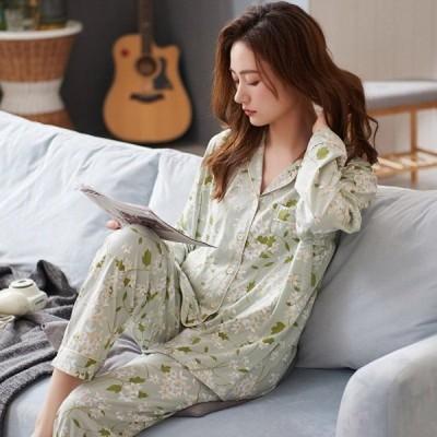 レディースパジャマ長袖かわいいルームウェア綿やわらかレディース部屋着前開きレディースセットアップルームウェア