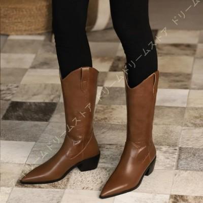 ウエスタンブーツ ブーツ レディース 靴 大きいサイズ 格子縞 ステージブーツ ベルトバックル 6cm ハイヒール 太ヒール チャンキーヒール ポインテッドトゥ