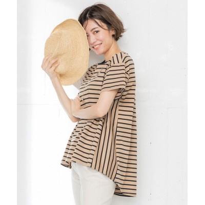 (NIJYUSANKU(SMALL SIZE)/ニジュウサンク エスサイズ)【洗える】コットン ビックシルエット ボーダー Tシャツ/レディース キャメル系1