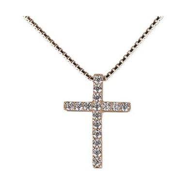 (リュイール)ネックレス レディース 人気 ダイヤモンド 4月誕生石 10金 k10ピンクゴールド クロス 十字架 メンズ