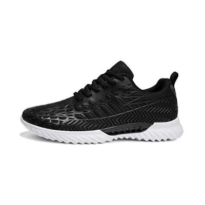[LYULAM] 運動靴 ランニングシューズ レディース/メンズ スニーカー 夏 軽量 通気 通学 中学生 黒白靴 カラフル ブラック 24.5