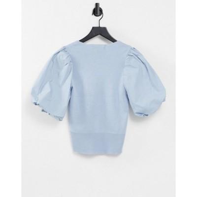 ヴェロモーダ レディース カットソー トップス Vero Moda knit top with v neck and puff sleeves in pale blue Blues