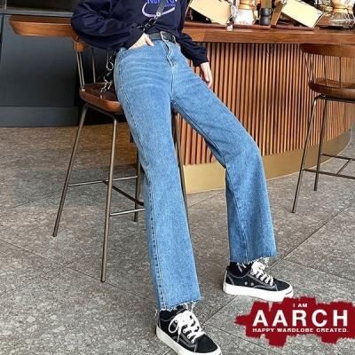 大きいサイズ デニム デニムパンツ レディース ファッション ぽっちゃり おおきいサイズ あり ジーパン ストレート 切りっぱなし M L LL 3L 4L 5L 秋冬