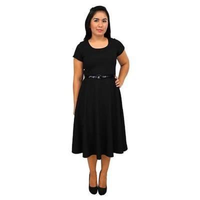 海外バイヤー厳選ブランド ドレス Women's Short Sleeve Scoop Neck Black A-line Dress