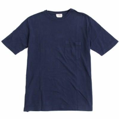 良品◆HERMES エルメス Hロゴ刺繍入り 半袖 コットンニット/Tシャツ ネイビー L 正規品 イタリア製 メンズ