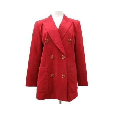 【中古】キャラオクルス CARA O CRUZ テーラードジャケット ブレザー ダブル フェイクスエード エクセーヌ 9 赤 レッド R041411 レディース 【ベクトル 古着】