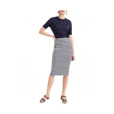 J.Crew レディース 女性用 ファッション スカート Knit Pencil Skirt in Stripe - Cabo Stripe Navy